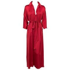 "Raspberry Satin ""At Home"" Lounge Wear or Informal Evening Dress"