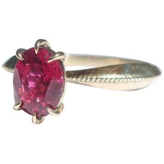 Raspberry Tourmaline Inspired Tapered 14 Karat Yellow Gold Solitaire Ring