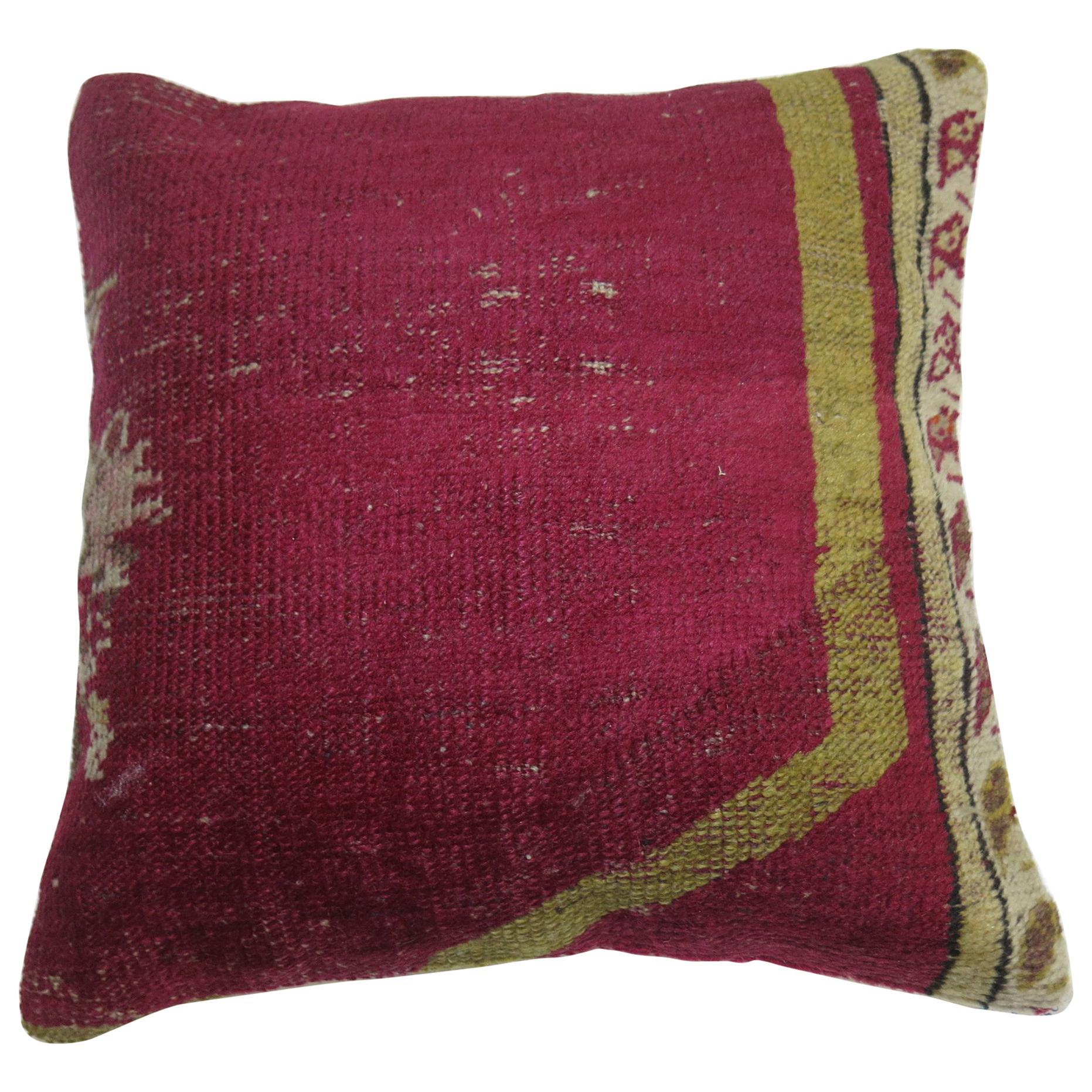 Raspberry Turkish Ghiordes Rug Pillow