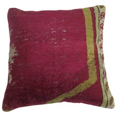 Raspberry Turkish Ghiordes Rug Pillow