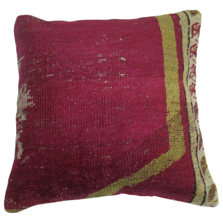 Raspberry Turkish Ghiordes Rug Pillow For Sale
