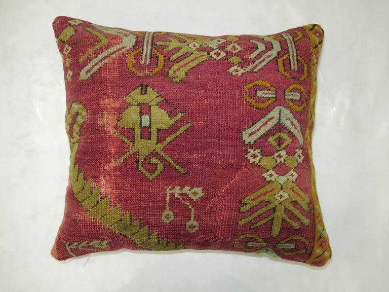 Agra Raspberry Turkish Rug Pillow For Sale
