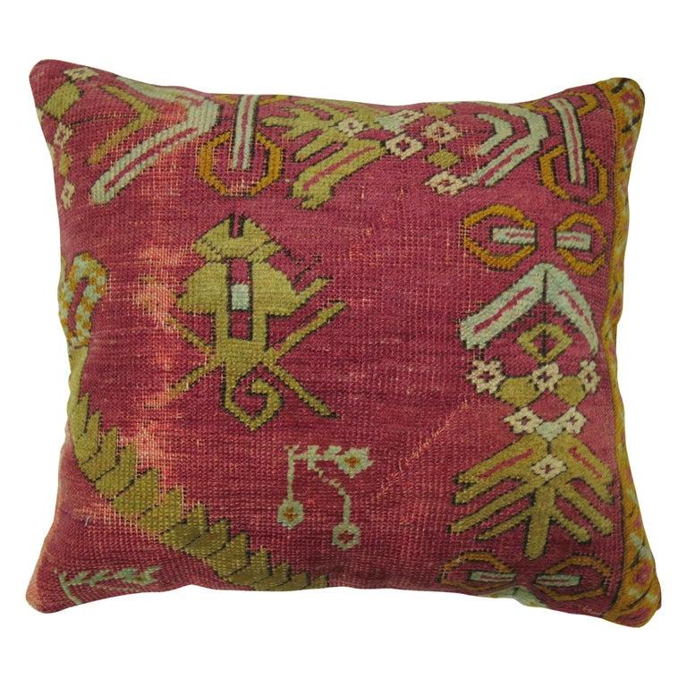 Raspberry Turkish Rug Pillow For Sale