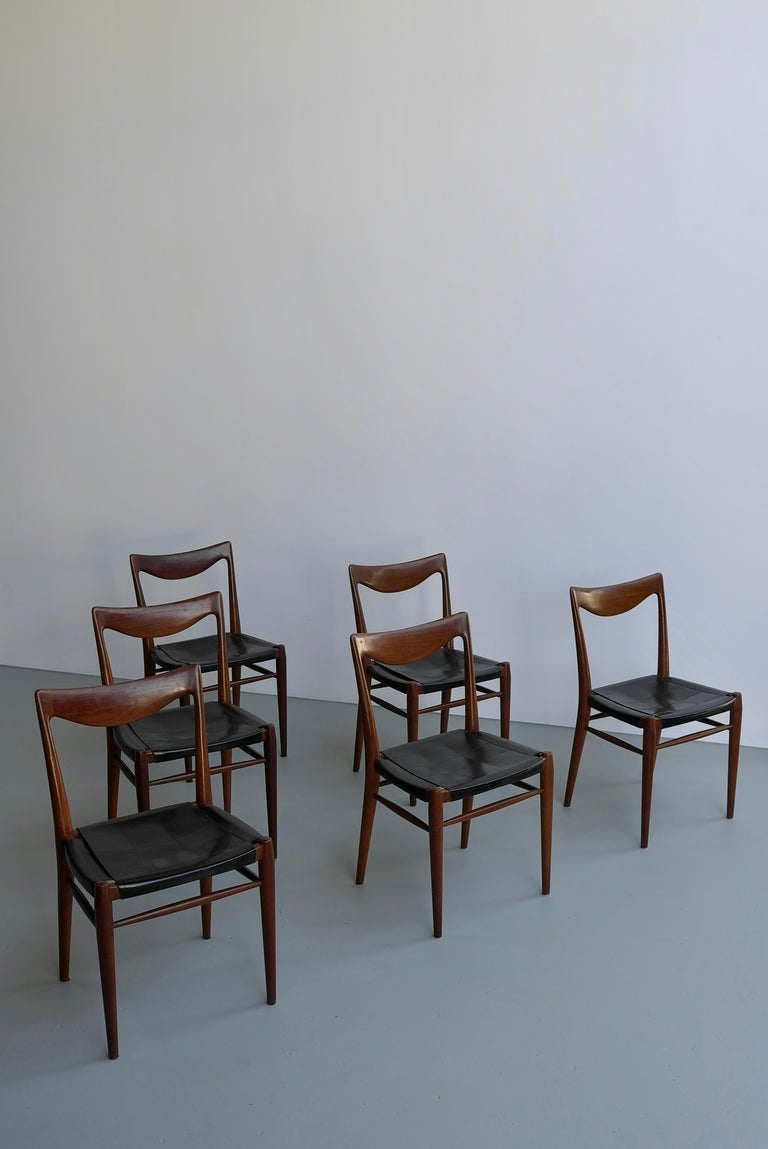 Rastad and Relling Six Bambi Dining Chairs in Teak and Leather by Gustav Bahus For Sale 4