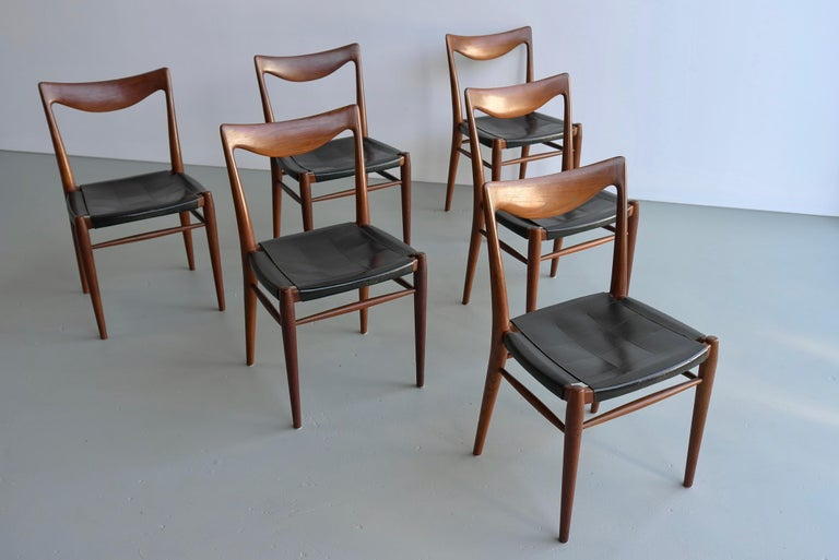 Rastad and Relling Six Bambi Dining Chairs in Teak and Leather by Gustav Bahus For Sale 5