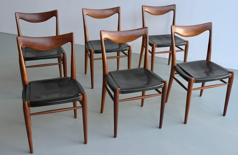 Rastad and Relling Six Bambi Dining Chairs in Teak and Leather by Gustav Bahus For Sale 6
