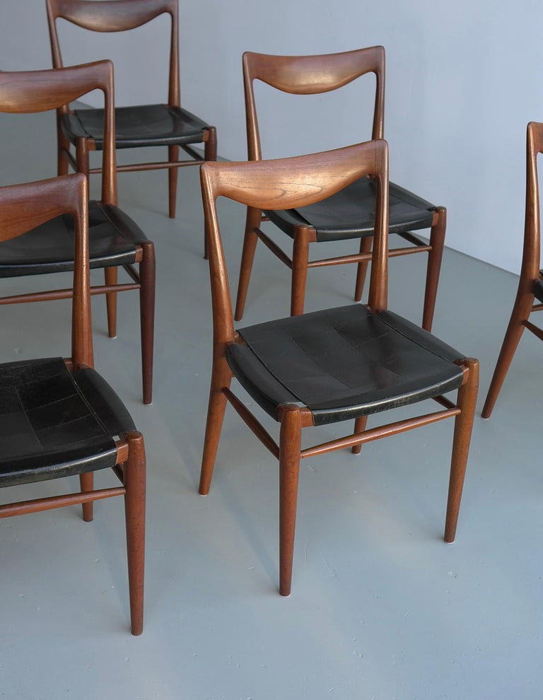 Rastad and Relling six Bambi chairs in teak and leather, Gustav Bahus, 1960s.