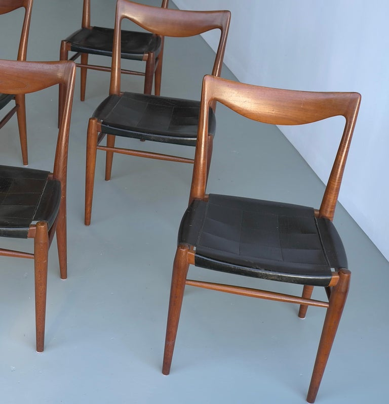 Mid-Century Modern Rastad and Relling Six Bambi Dining Chairs in Teak and Leather by Gustav Bahus For Sale