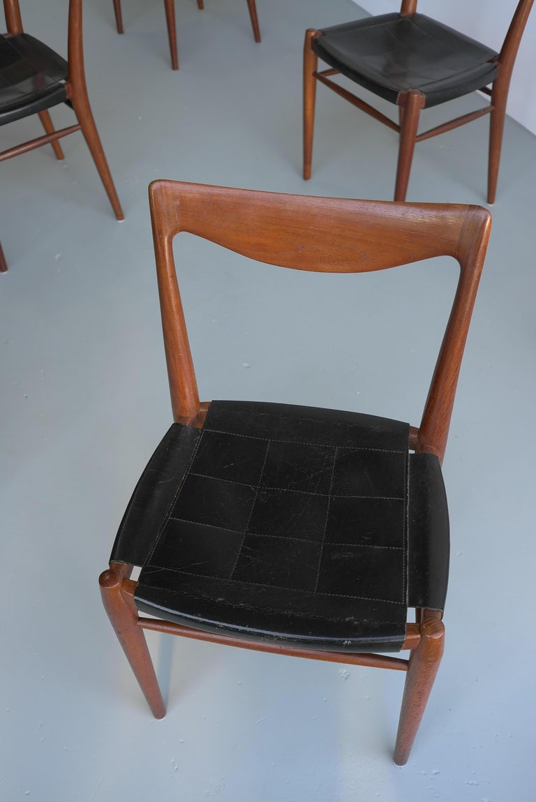 Norwegian Rastad and Relling Six Bambi Dining Chairs in Teak and Leather by Gustav Bahus For Sale