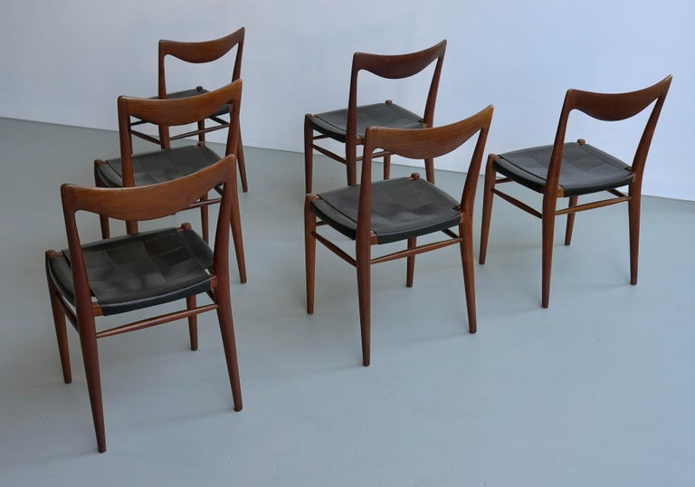 Rastad and Relling Six Bambi Dining Chairs in Teak and Leather by Gustav Bahus In Good Condition For Sale In The Hague, NL