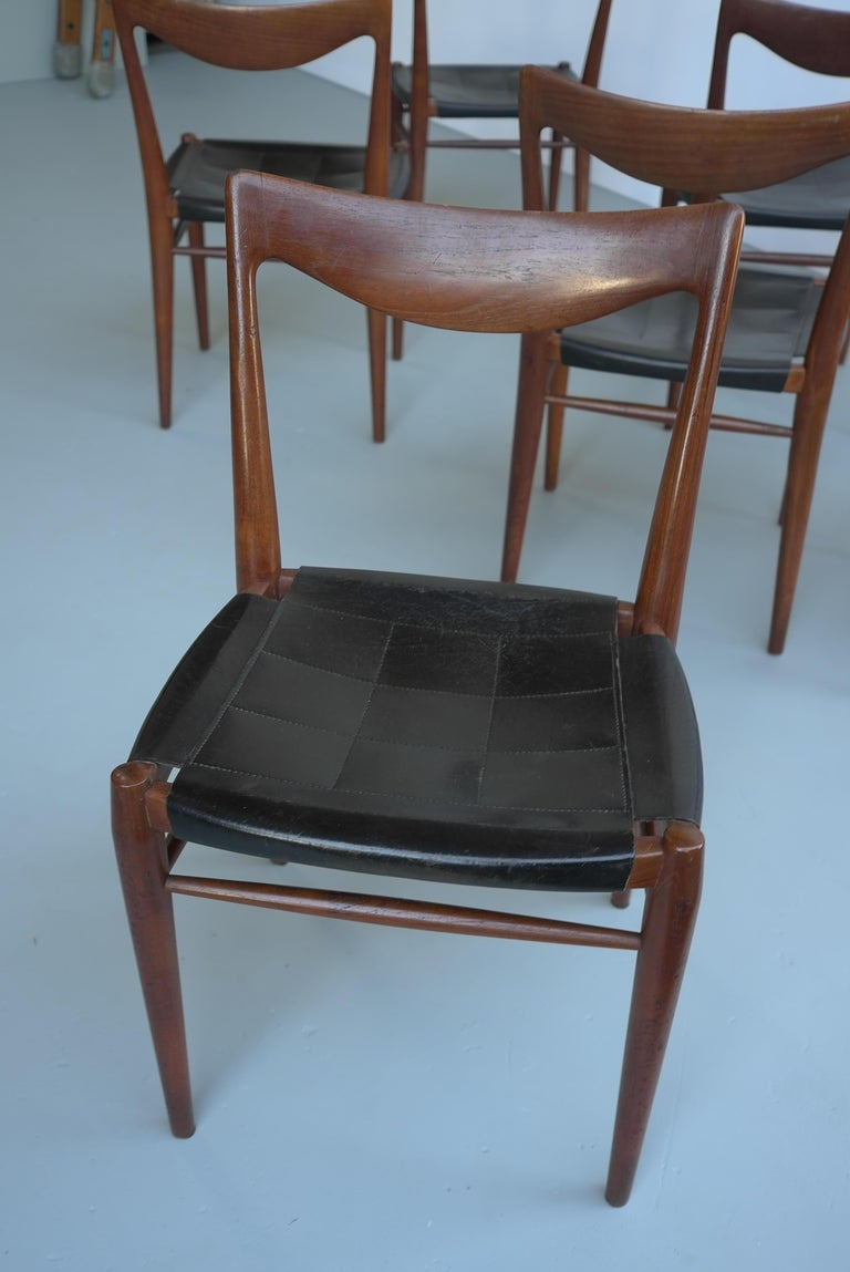Rastad and Relling Six Bambi Dining Chairs in Teak and Leather by Gustav Bahus For Sale 1