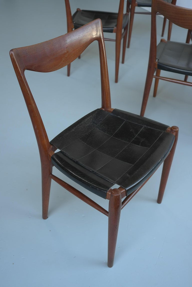 Rastad and Relling Six Bambi Dining Chairs in Teak and Leather by Gustav Bahus For Sale 2