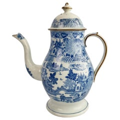 Rathbone Pearlware Coffee Pot, Pagoda Pattern Blue and White, ca 1815