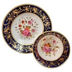 Rathbone Porcelain Teacup, Cobalt Blue, Gilt and Flowers, Regency ca 1815