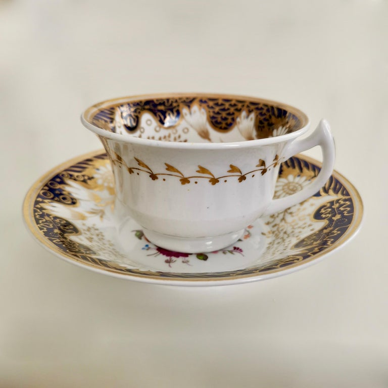 English Rathbone Teacup, Hand Painted Flowers, Regency circa 1815 For Sale