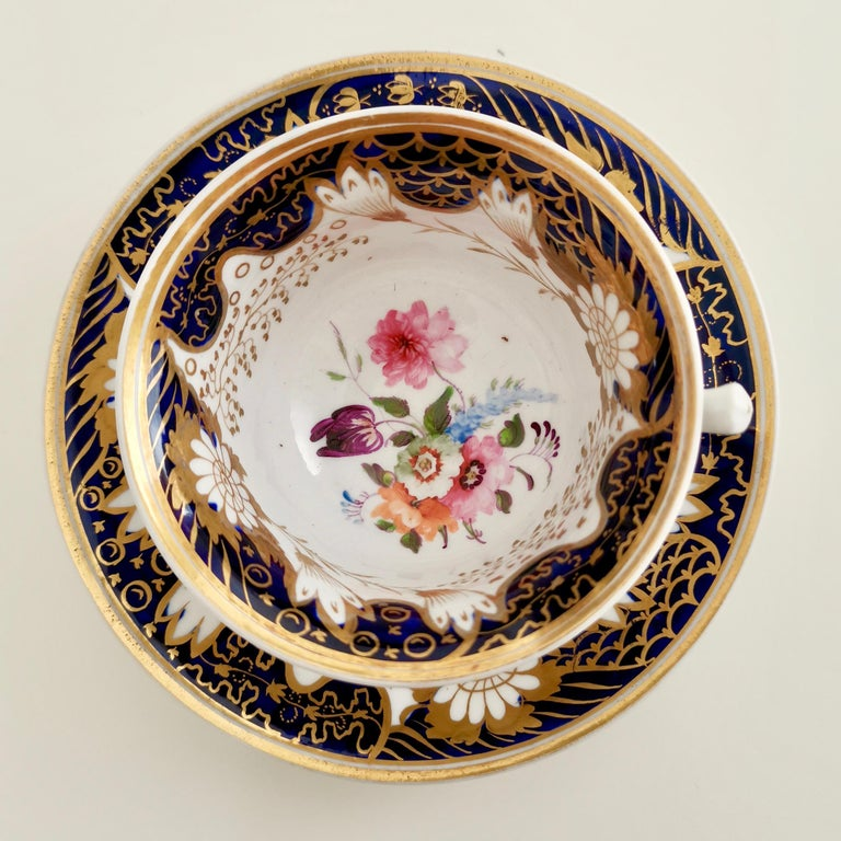 Early 19th Century Rathbone Teacup, Hand Painted Flowers, Regency circa 1815 For Sale