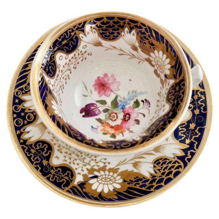 Rathbone Teacup, Hand Painted Flowers, Regency circa 1815 For Sale