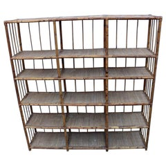 Rational Minimalist Bookshelf Bookcase in Midcentury Italian Bamboo