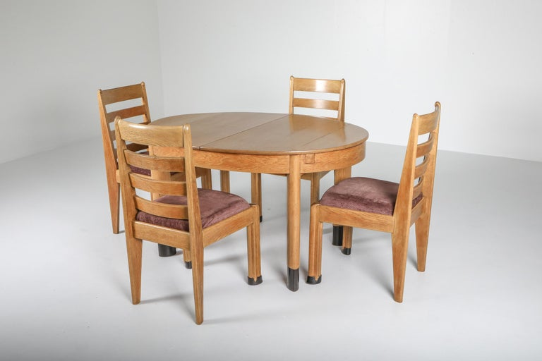 Dutch Rationalist Oval Dining Set in Oak, Holland, 1920s For Sale