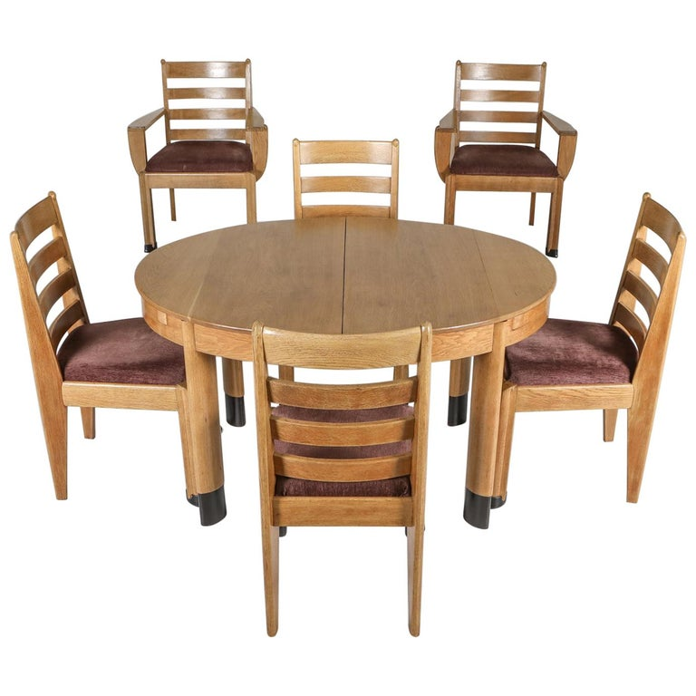 Rationalist Oval Dining Set in Oak, Holland, 1920s For Sale