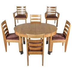 Rationalist Oval Dining Set in Oak, Holland, 1920s