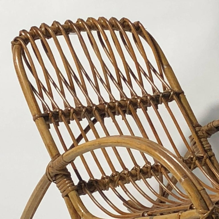 Mid-Century Modern Rattan 1950s Children's Rocking Chair, Franco Albini For Sale