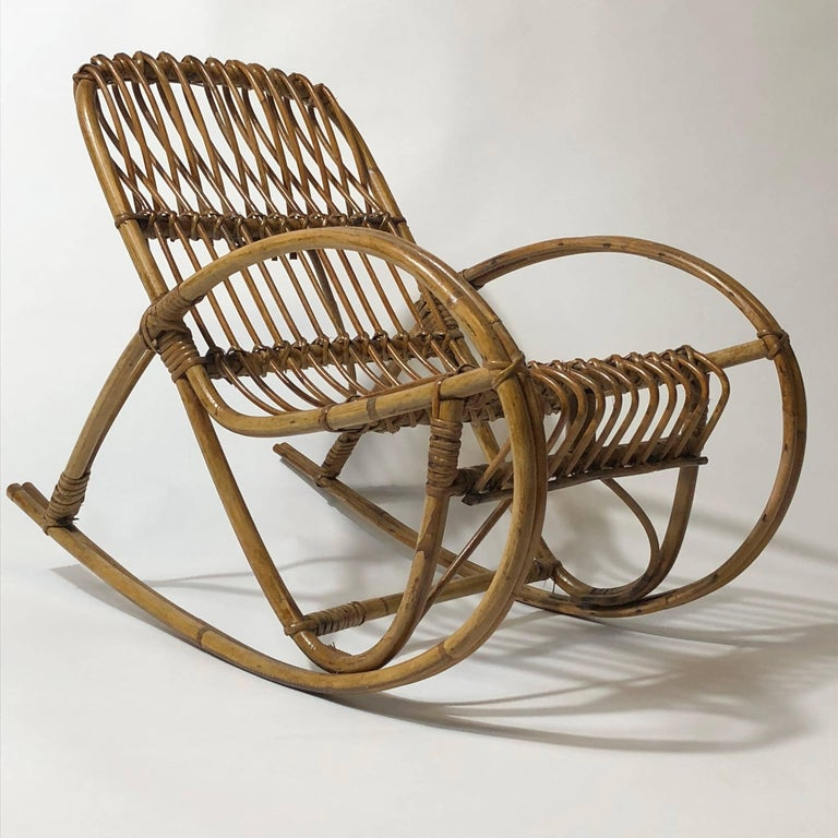 Italian Rattan 1950s Children's Rocking Chair, Franco Albini For Sale