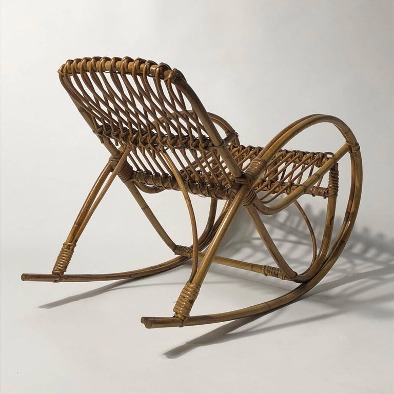 Mid-20th Century Rattan 1950s Children's Rocking Chair, Franco Albini For Sale