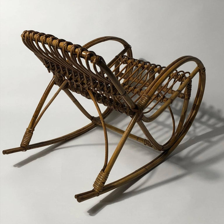 Rattan 1950s Children's Rocking Chair, Franco Albini For Sale 1
