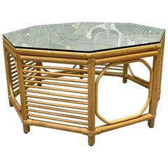 Rattan Albini Style Octagonal Coffee Table