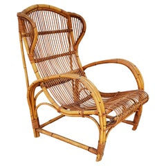 Rattan and Bamboo Armchair, Italy, 1960s