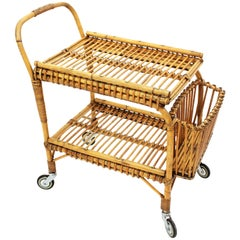 Rattan and Bamboo Bar Cart or Cocktail Trolley, Italy, 1950s