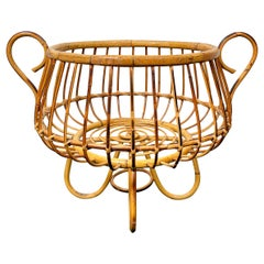 Rattan and Bamboo Basket, Italy, 1960s