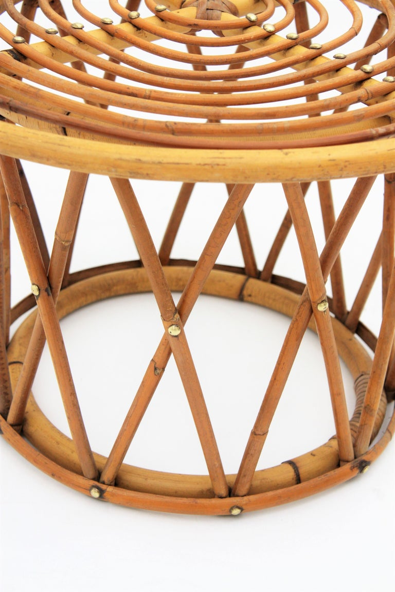 Spanish Rattan and Bamboo End Side Table in the Style of Franco Albini For Sale