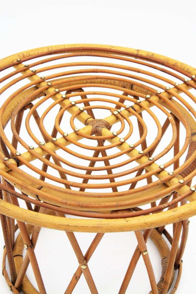 20th Century Rattan and Bamboo End Side Table in the Style of Franco Albini For Sale