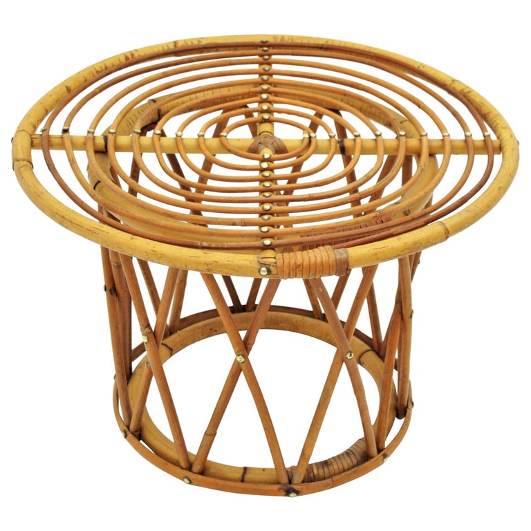 Rattan and Bamboo End Side Table in the Style of Franco Albini For Sale