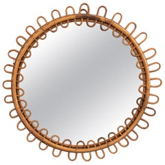Rattan and Bamboo Italian Riviera Midcentury Round Mirror with Looped Frame