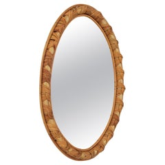 Rattan and Bamboo Oval Mirror with Knot Motifs