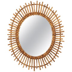 Rattan and Bamboo Oval Sunburst Mirror
