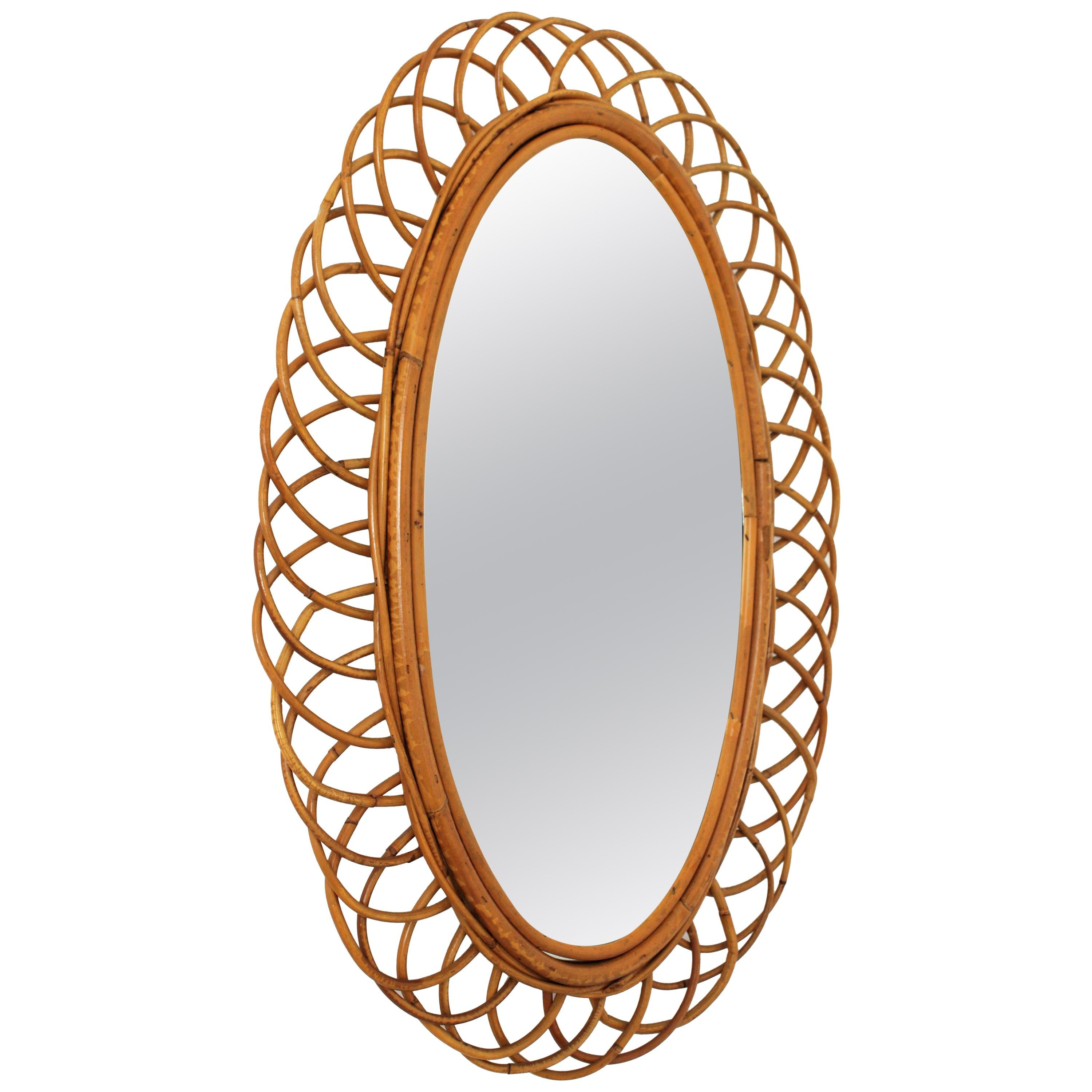 Rattan and Bamboo Oval Wall Mirror, Spain, 1960s