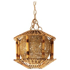 Rattan and Bamboo Pendant Hanging Lamp / Lantern with Chinoiserie Accents