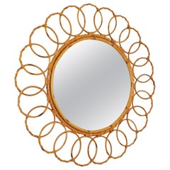 Rattan and Bamboo Round Mirror with Chained Circles Frame