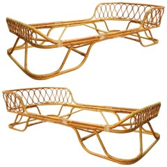 Rattan and Bamboo Single Beds, a Pair Available