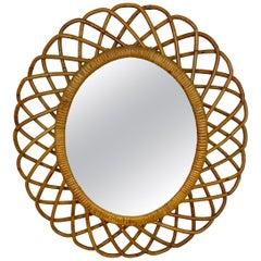 Rattan and Bamboo Wall Mirror, Italy, 1960s Italian Riviera