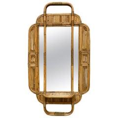 Rattan and Bamboo Wall Mirror Shelf