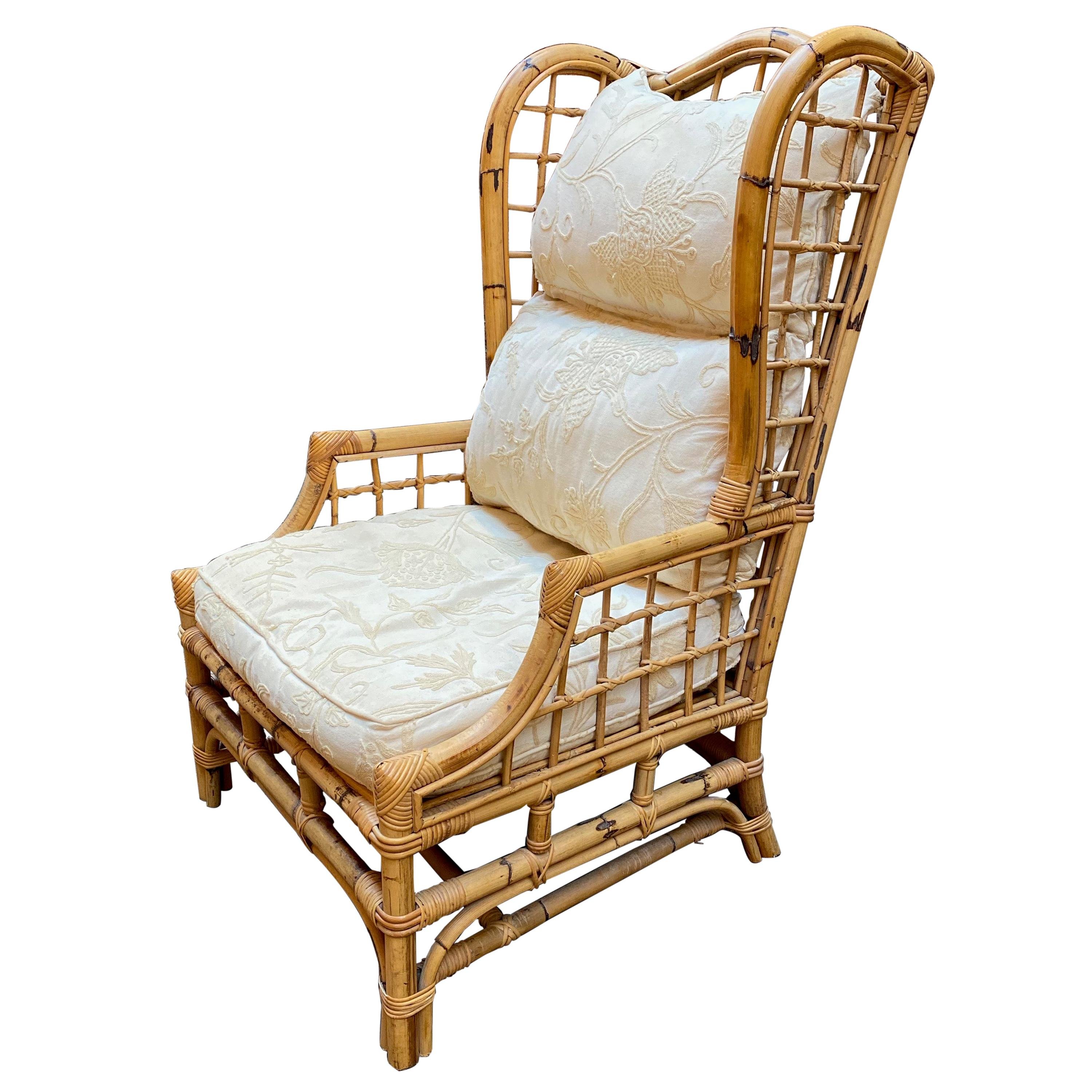 Rattan and Bamboo Wing Back Chair