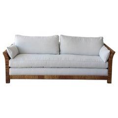 Rattan and Belgian Linen Sofa, 1960s