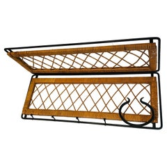 Rattan and Black Lacquered Metal Coat Hanger, French, Circa 1950