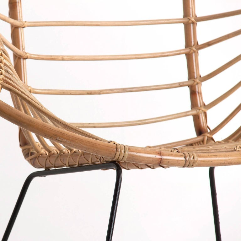 Mid-Century Modern Rattan and Black Metal Armchair For Sale