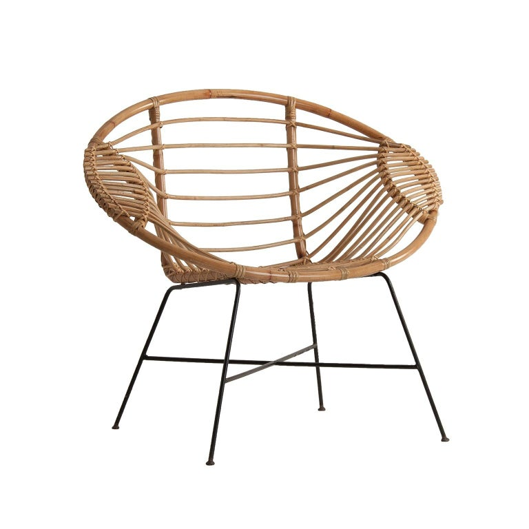 Spanish Rattan and Black Metal Armchair For Sale